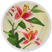 Stargazer Lilies - Watercolor Round Beach Towel