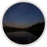 Stargazing At Trillium Lake Round Beach Towel