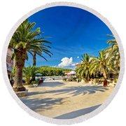Stari Grad On Hvar Island Palm Waterfront Round Beach Towel