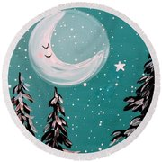 Starry Night Crescent Moon  Round Beach Towel