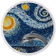 Starry Night Dolphin Round Beach Towel