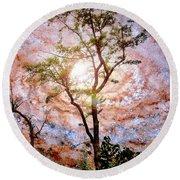 Starry Night Fantasy, Tree Silhouette Round Beach Towel