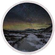 Starry Night In Iceland Round Beach Towel