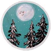 Starry Night Moon  Round Beach Towel