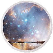 Starry Night Over A Mountain Lake Fantasy Round Beach Towel