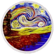 Starry Night Over Nubble Lighthouse  Round Beach Towel
