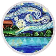 Starry Night Over The Lake Round Beach Towel