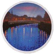Starry Nights In Dublin Ha' Penny Bridge Round Beach Towel by John  Nolan