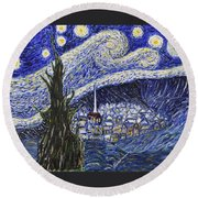 Starry Nights And Serenity  Round Beach Towel