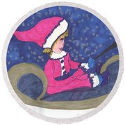 Starry Sleigh Ride Round Beach Towel