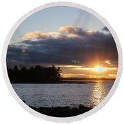 Starry Sunset Round Beach Towel