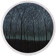 Starry Trees Round Beach Towel