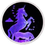 Starry Unicorns Round Beach Towel