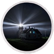 Stars And Light Beams - West Quoddy Head Lighthouse Round Beach Towel