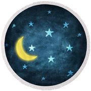 Stars And Moon Drawing With Chalk Round Beach Towel