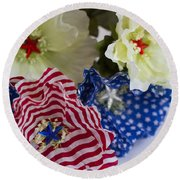 Stars And Stripes Bouquet Round Beach Towel