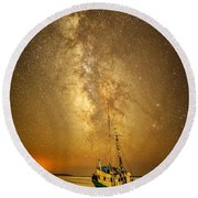 Stars Over Fishing Boat Round Beach Towel