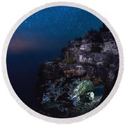 Stars Over The Grotto Round Beach Towel