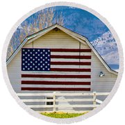 Stars Stripes And Barns Round Beach Towel