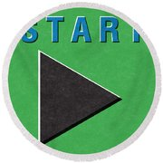 Start Button Round Beach Towel