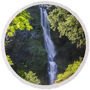 Starvation Creek Falls Round Beach Towel