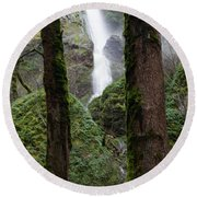 Starvation Creek Falls Between The Trees Round Beach Towel