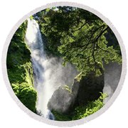 Starvation Creek Falls In September  Round Beach Towel