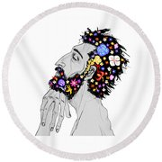 Starving For Peace Round Beach Towel
