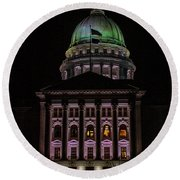State Capitol Madison Wi Round Beach Towel