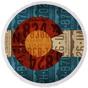 State Flag Of Colorado Recycled License Plate Art Round Beach Towel