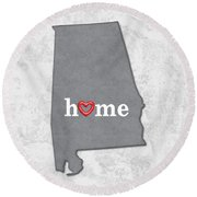 State Map Outline Alabama With Heart In Home Round Beach Towel