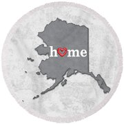 State Map Outline Alaska With Heart In Home Round Beach Towel