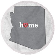 State Map Outline Arizona With Heart In Home Round Beach Towel