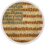 State Names American Flag Word Art Red White And Blue Round Beach Towel