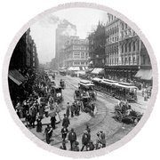 State Street - Chicago Illinois - C 1893 Round Beach Towel