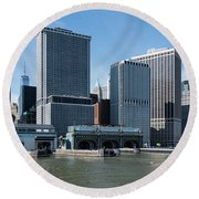 Staten Island Ferry Docks Round Beach Towel