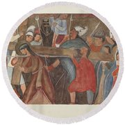 """Station Of The Cross No. 5: """"jesus Is Assisted In Carrying His Cross Round Beach Towel"""