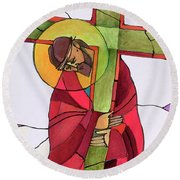 Stations Of The Cross - 02 Jesus Accepts The Cross - Mmjcs Round Beach Towel