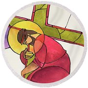 Stations Of The Cross - 03 Jesus Falls The First Time - Mmjff Round Beach Towel