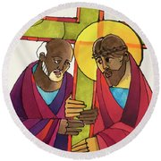 Stations Of The Cross - 05 Simon Helps Jesus Carry The Cross - Mmshj Round Beach Towel