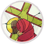 Stations Of The Cross - 07 Jesus Falls A Second Time - Mmjti Round Beach Towel