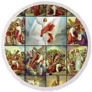 Stations Of The Cross Round Beach Towel