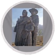Statuary Dedicated To The American Indian Round Beach Towel