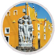 Statue And Yellow Theater Round Beach Towel