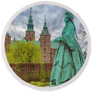 Statue At Rosenborg Castle Round Beach Towel