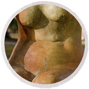 Statue In The Nude Round Beach Towel