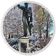 Statue In The Snow Round Beach Towel