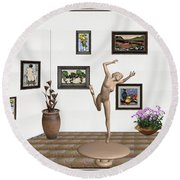Statue Of A Dancing Girl On Ice 2 Round Beach Towel