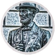 Statue Of Abraham Lincoln #7 Round Beach Towel
