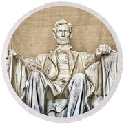 Statue Of Abraham Lincoln - Lincoln Memorial #3 Round Beach Towel